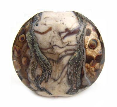 "Aged Ivory 1 3/8"" - 37mm ~ KGBeads Handmade Artisan Glass Lampwork Pendant Bead"