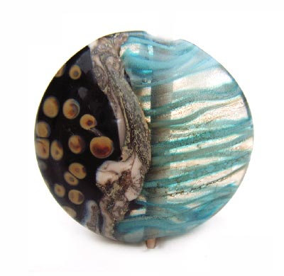"Black n Blue 1 3/8"" - 35mm ~ KGBeads Handmade Artisan Glass Lampwork Pendant Bead"