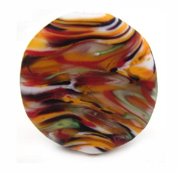 Autumn Tempest (etched) - 35mm ~ KGBeads Handmade Artisan Glass Lampwork Pendant Bead