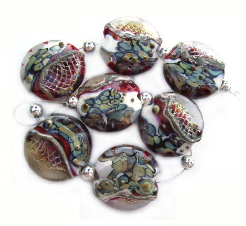 Red Outburst  - Ian Williams Handmade Artisan Glass Lampwork 22mm Beads x7