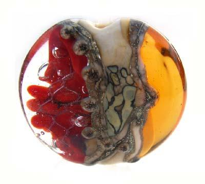 Red Splash  32mm ~ Ian Williams Handmade Artisan Glass Lampwork Pendant Bead
