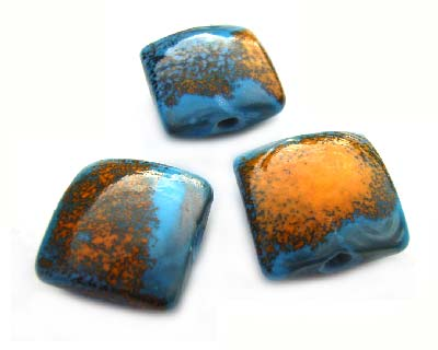 Dunmara Chunky Square 16mm - Ian Williams Handmade Artisan Glass Lampwork Beads - By the Bead