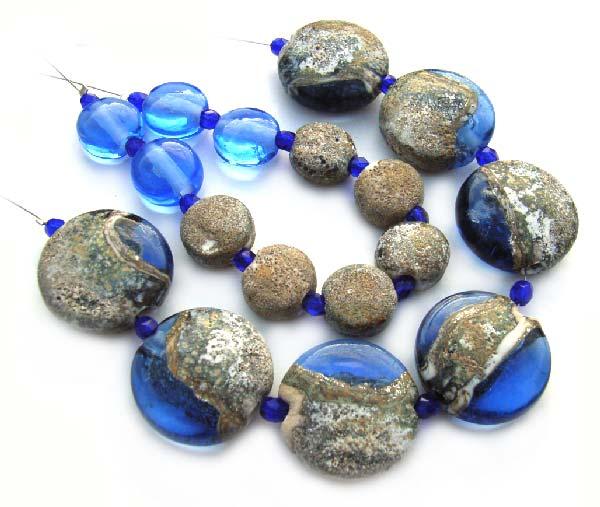 Rough Sapphire  - Ian Williams Handmade Artisan Glass Lampwork Beads x17