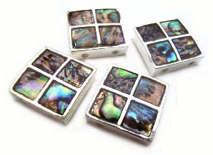 Abalone Chequered Shell 13x13mm Slider x1