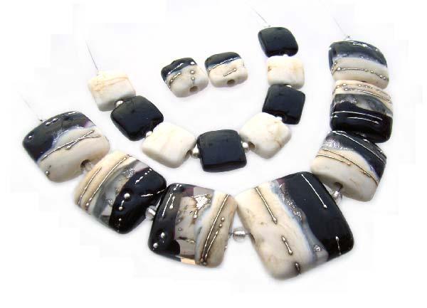Debutante  - Ian Williams Handmade Artisan Glass Lampwork Beads x17