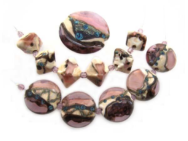 Blue Roses - Ian Williams Artisan Glass Lampwork Beads with Focal Pendant (12 lampwork beads)