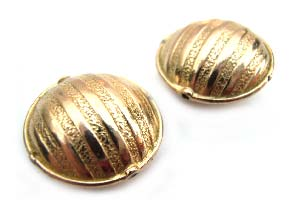 "Pure Brass - Anti Tarnish - 15x7mm  ""Hammered Stripes"" Lentil Bead x1"