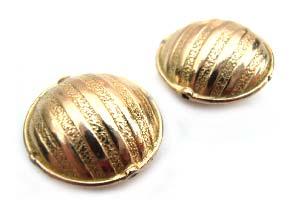 """Pure Brass - Anti Tarnish - 15x7mm  """"Hammered Stripes"""" Lentil Bead x1"""
