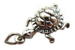 Sterling Silver Charms - 22x14mm Turtle Charm x1