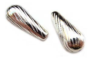 Sterling Silver Beads 8x20mm Twisted Tear Drop Bead x1