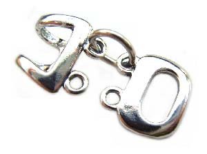 Sterling Silver Clasps - 24x12mm Double Strand Hook Clasp x1