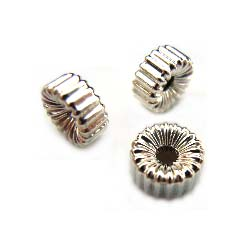 Sterling Silver Beads - 6x3mm Ribbed Corrugated Rondelle Bead x1