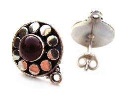 BALI Sterling Silver Carnelian Ear Posts inc backs x1pr
