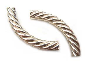 BALI Sterling Silver Beads - 37x5mm Twisted Tube Bead x1