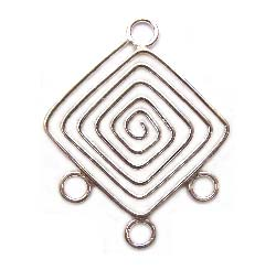 BALI Sterling Silver 35x28mm 3-Strand Chandelier Pendant x1