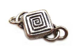 Thai Karen Hill Tribe Silver - 23x16mm Square S Hook Clasp x1