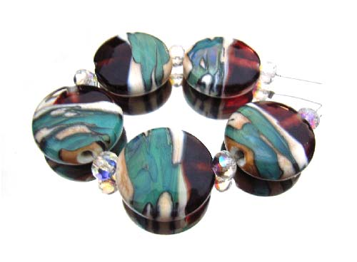 Taxco 22x9.5mm Buttons - Ian Williams Artisan Glass Lampwork Beads
