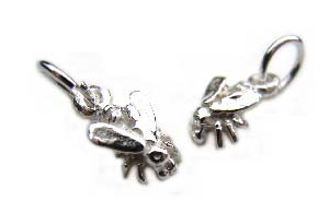 Sterling Silver Charms - 10x5.5mm Teensie Fly Charm x1