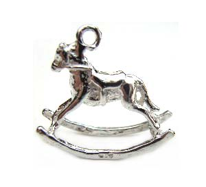 Sterling Silver Charms - 17x17mm Rocking Horse Charm x1