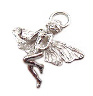 Sterling Silver Charms - 18x21mm Faery Fairy Charm x1
