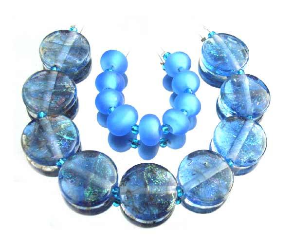 Dichroic - Goldstone ribbons - 22x8mm Coins - Ian Williams Artisan Glass Lampwork Beads