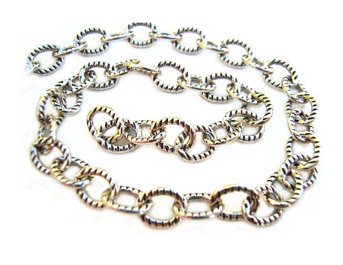 Sterling Silver Chain 6x4.5mm Oval Link Oxidised - per foot (30cm)