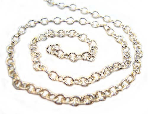 Sterling Silver Chain 3x2mm Etched Oval Link Shiny - per foot (30cm)