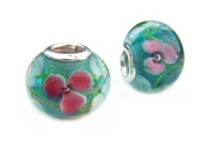 Sterling Silver Core Bead 15x11mm - 5mm Hole Encased Floral Glass Lampwork Rondelle x1