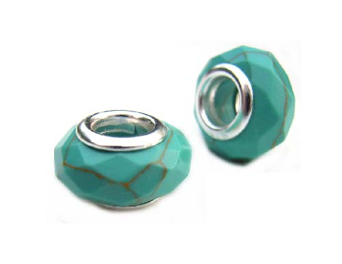 Sterling Silver Core Bead 12x7mm - 4.5mm Hole Turquoise Faceted Glass Rondelle x1