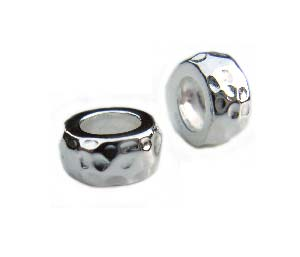 Sterling Silver Bead 9x4mm - 4.5mm Hole Hammered Rondelle (with stopper) x1