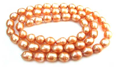 Freshwater PEARL Beads Oval Egg 5x6m Antique Peach
