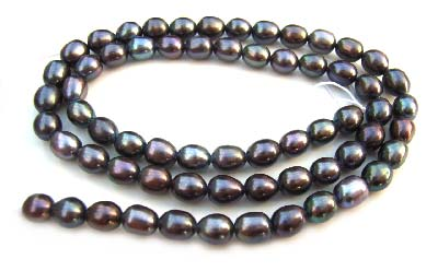 Freshwater PEARL Beads Oval Egg 5x6m Black