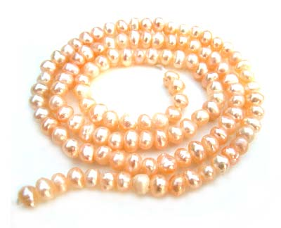 Freshwater PEARL Beads Potato Nugget 5x5mm Peach