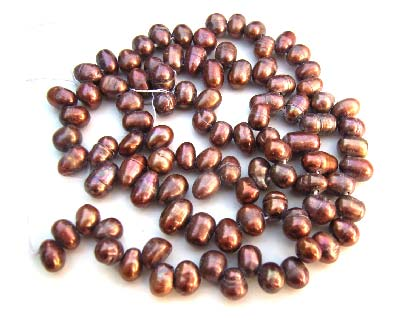 Freshwater PEARL Beads side Drilled Potato Nugget 5x5mm -6x7mm Copper
