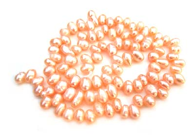 Freshwater PEARL Beads Side Drilled Potato 5mm Peach