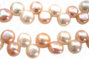 Freshwater PEARL Beads - Top Drilled Flat Button 7mm - Peach & White