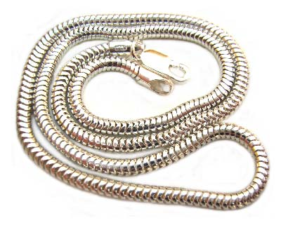 "Sterling Silver Necklace 3mm Round Snake Chain 18"" - 46cm"