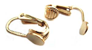 Gold Filled Clip On Earrings 5mm Flat Round, 13x15mm x1pr