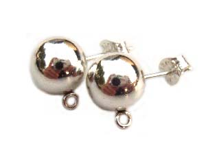 Sterling Silver 9mm Earring Studs Earposts Ball Posts inc butterfly backs x1pr