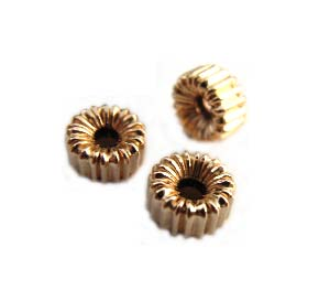 Gold Filled Beads - 5x3mm Ribbed Corrugated Rondelle x1