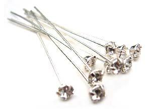 Swarovski Crystal Silver 3mm Headpins Anti Nickel Allergenic 22 gauge 37mm - Crystal x1