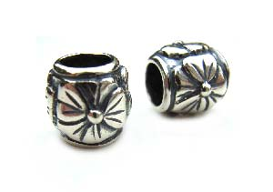 Sterling Silver Bead 9x9mm - 5mm Hole Oxidised Primrose Barrel x1
