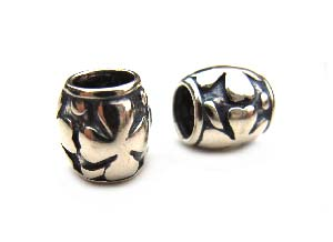 Sterling Silver Bead 9x8mm - 5mm Hole Oxidised Lucky 4 Leaf Clover Barrel x1