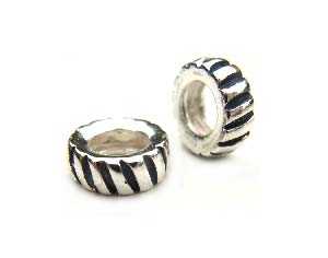 Sterling Silver Bead 9x3mm - 5mm Hole Oxidised Striped Rondelle x1