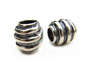 Sterling Silver Bead 10x9mm - 5mm Hole Oxidised Snake Barrel x1