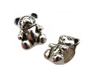 Sterling Silver Bead 11x8mm - 4mm Hole Teddy Bear x1
