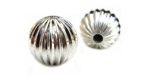 Sterling Silver Beads - 8mm Round Corrugated Fluted Bead x1