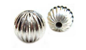 Sterling Silver Beads - 9mm Round Corrugated Fluted Bead x1