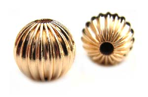 Gold Filled Beads - 10mm Round Corrugated Fluted Bead x1