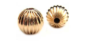 Gold Filled Beads - 7mm Round Corrugated Fluted Bead x1